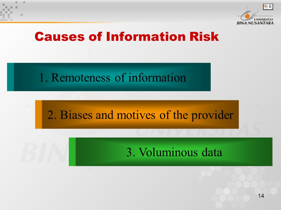 13 Economic Demand for Auditing Information risk reflects the possibility that the information upon which the business risk decision was made was inac