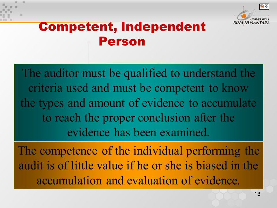 17 Accumulating and Evaluating Evidence Evidence is any information used by the auditor to determine whether the information being audited is stated i