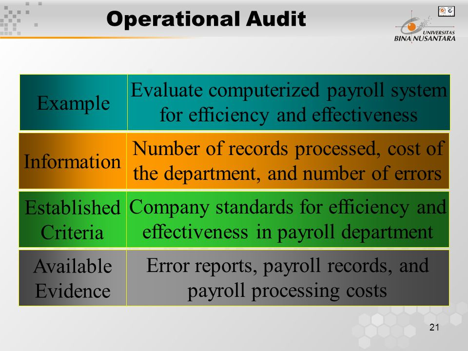 20 Types of Audits Financial Statement Audit Operational Audit Compliance Audit EfficiencyEffectiveness