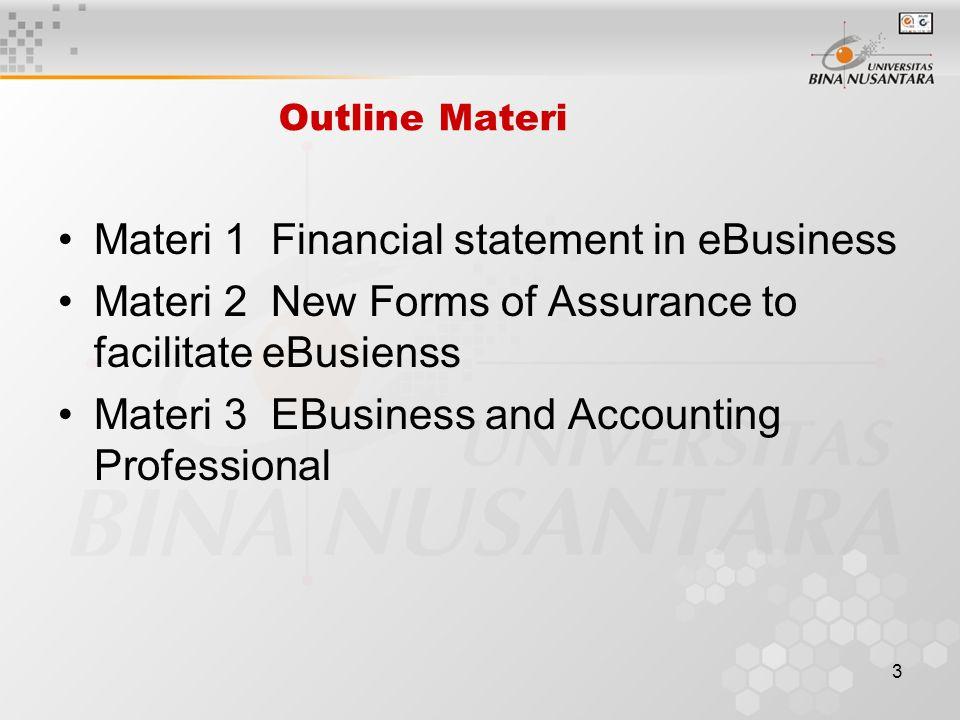 2 Learning Outcomes Pada akhir pertemuan ini, diharapkan mahasiswa akan mampu : Mutu/keandalan laporan akuntansi keuangan dalam eBusiness environment (TIK-13) Paradigma baru sistem akuntansi (TIK-13) Dampak eBusiness pada Profesi akuntan (TIK-13)