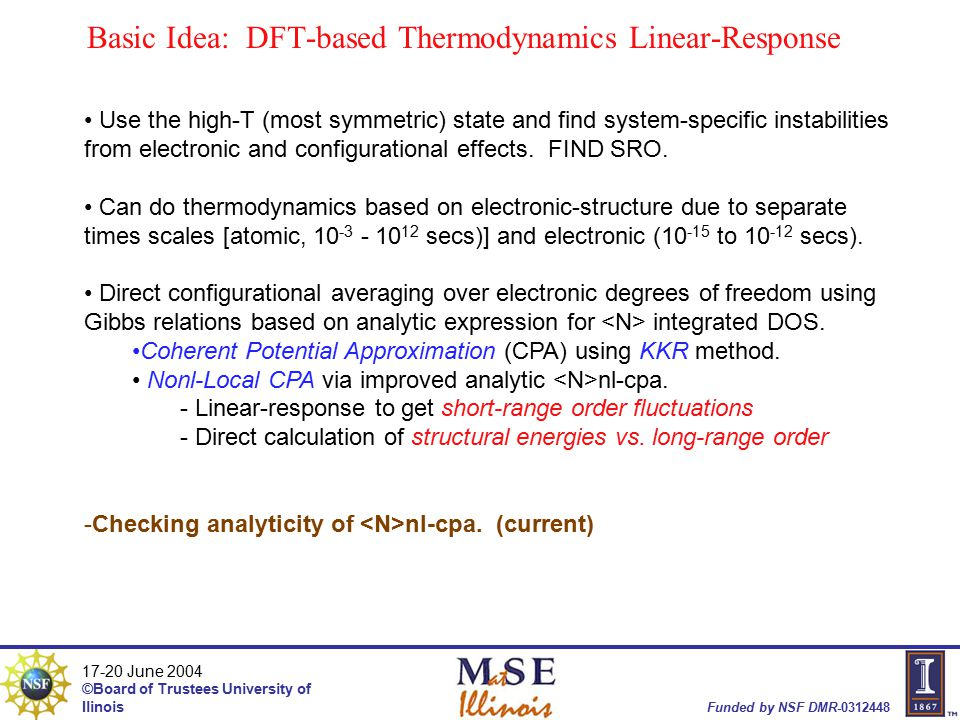 17-20 June 2004 ©Board of Trustees University of Ilinois Funded by NSF DMR-0312448 Basic Idea: DFT-based Thermodynamics Linear-Response Use the high-T (most symmetric) state and find system-specific instabilities from electronic and configurational effects.