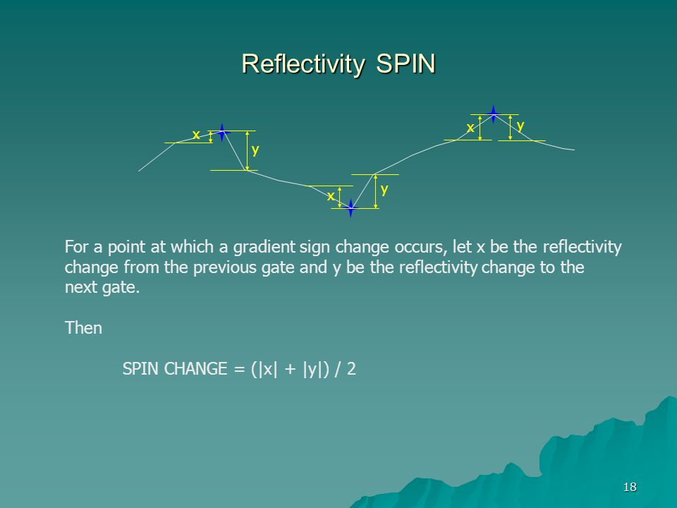 18 Reflectivity SPIN For a point at which a gradient sign change occurs, let x be the reflectivity change from the previous gate and y be the reflecti
