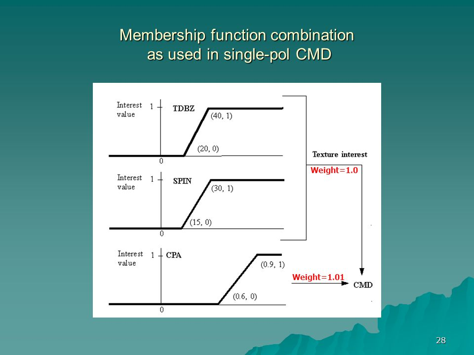 28 Membership function combination as used in single-pol CMD -> (15,0) -> (30,1) Weight=1.01 Weight=1.0