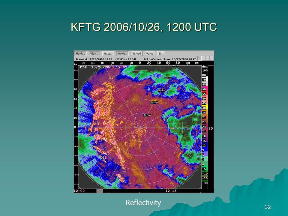 32 KFTG 2006/10/26, 1200 UTC Reflectivity