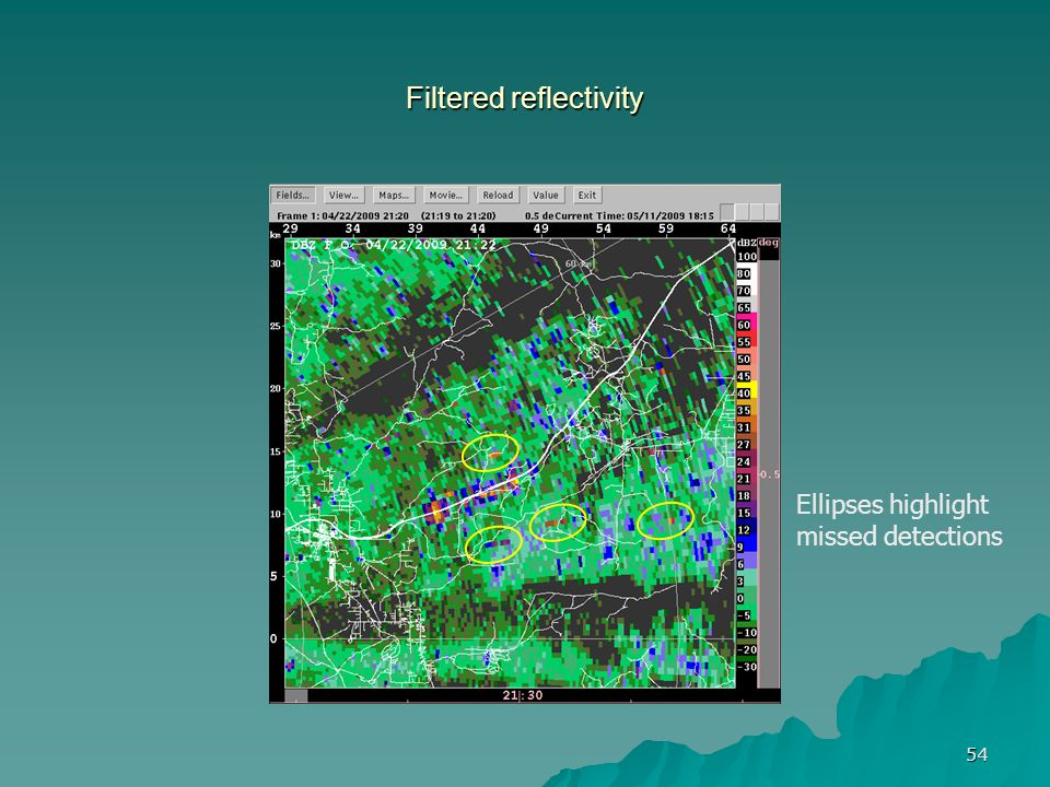 54 Filtered reflectivity Ellipses highlight missed detections