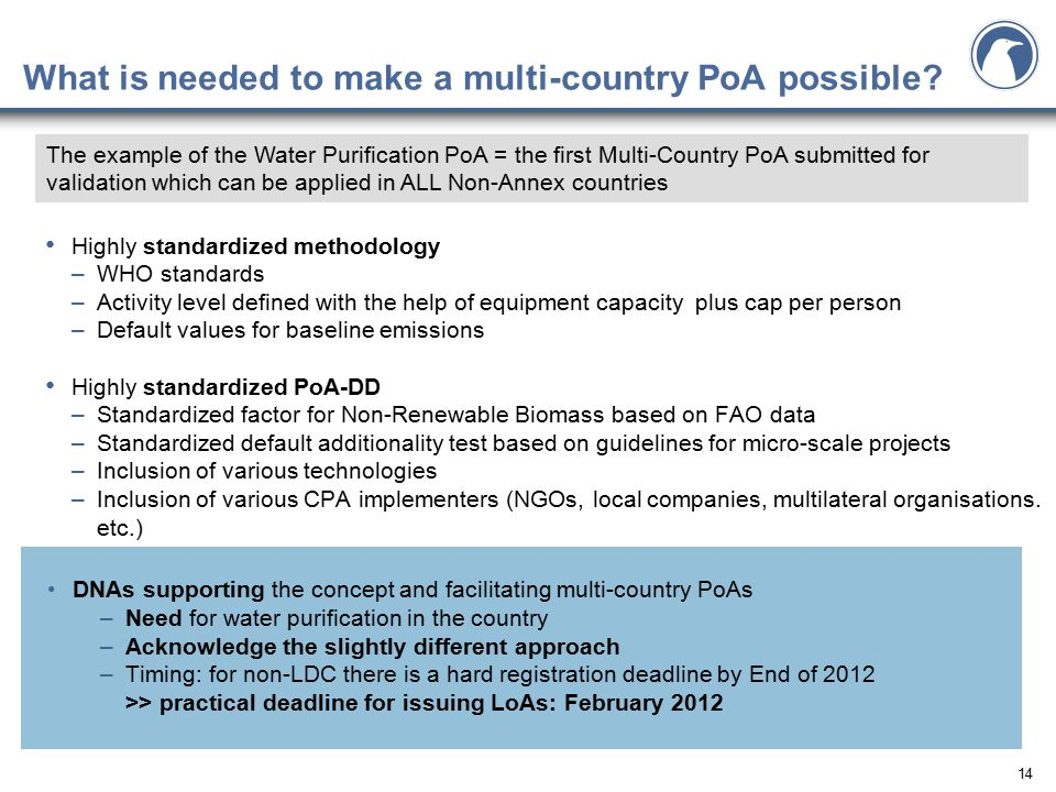 14 What is needed to make a multi-country PoA possible.