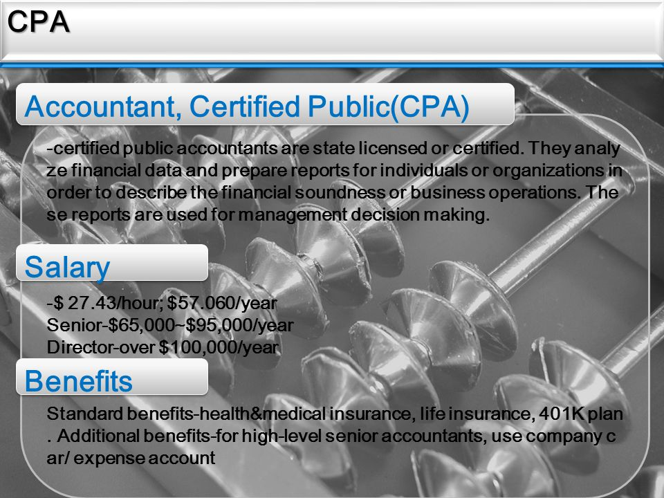 Sources CPACPA -certified public accountants are state licensed or certified.