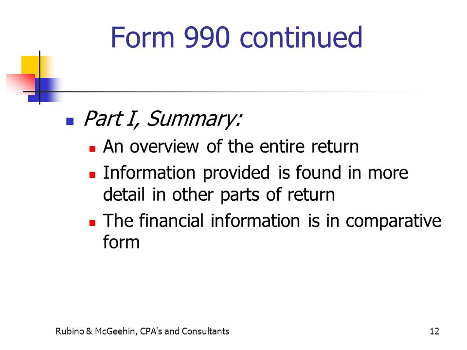Form 990 continued Part I, Summary: An overview of the entire return Information provided is found in more detail in other parts of return The financi