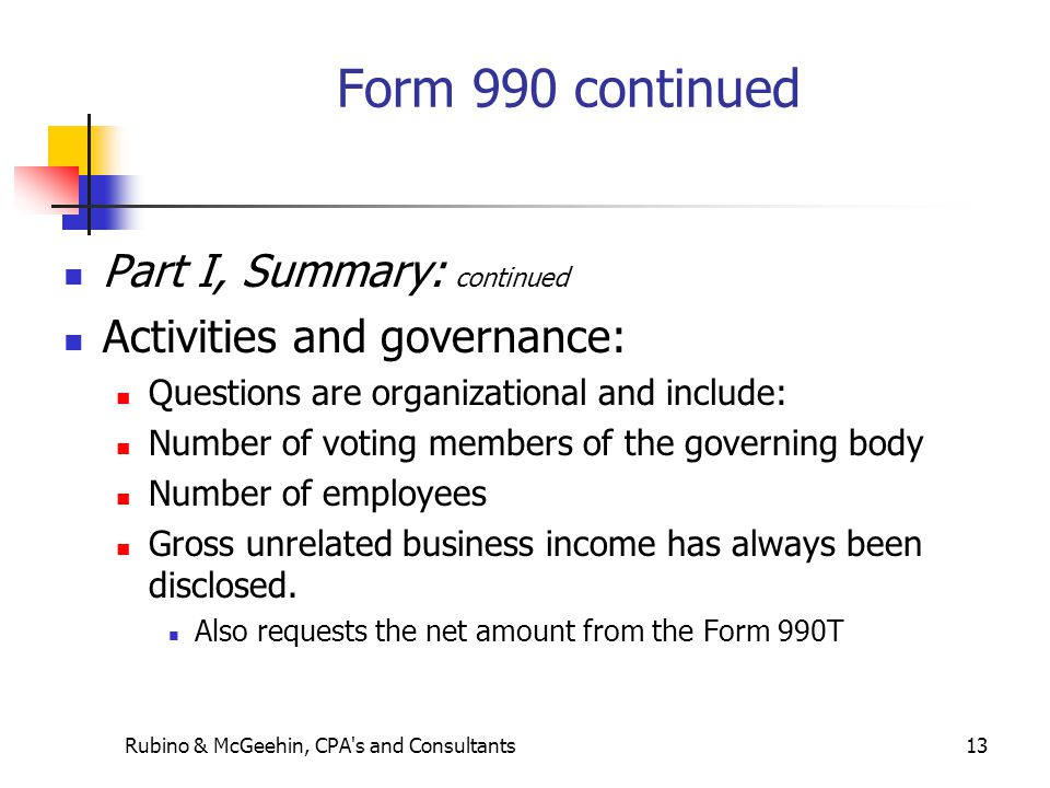 Rubino & McGeehin, CPA s and Consultants13 Form 990 continued Part I, Summary: continued Activities and governance: Questions are organizational and include: Number of voting members of the governing body Number of employees Gross unrelated business income has always been disclosed.
