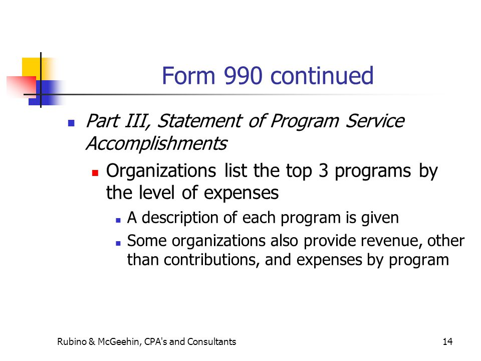 Form 990 continued Part III, Statement of Program Service Accomplishments Organizations list the top 3 programs by the level of expenses A description of each program is given Some organizations also provide revenue, other than contributions, and expenses by program Rubino & McGeehin, CPA s and Consultants14