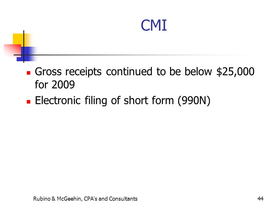 Rubino & McGeehin, CPA's and Consultants44 CMI Gross receipts continued to be below $25,000 for 2009 Electronic filing of short form (990N)