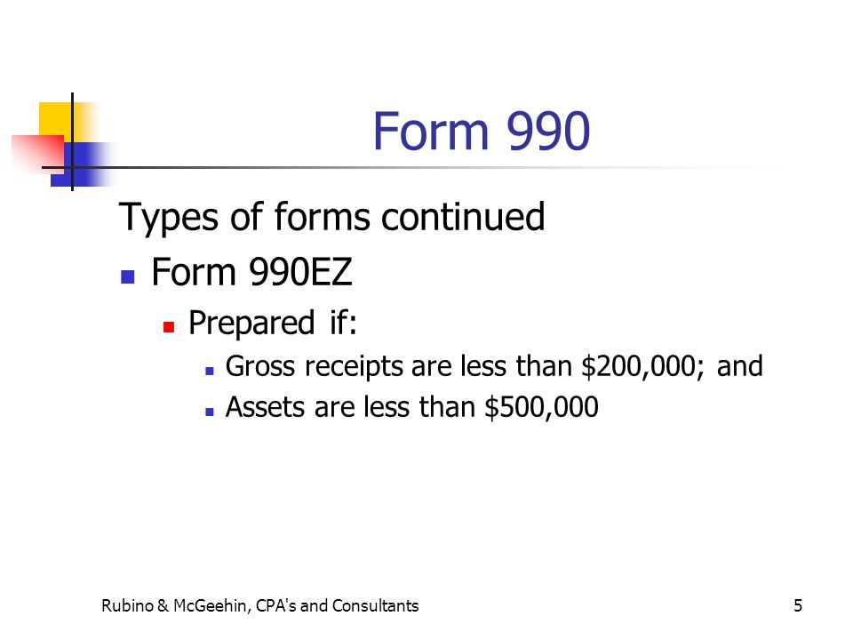 Form 990 Types of forms continued Form 990EZ Prepared if: Gross receipts are less than $200,000; and Assets are less than $500,000 Rubino & McGeehin,