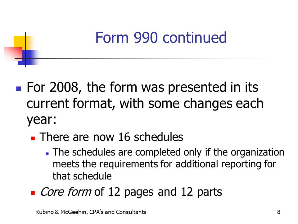 8 Form 990 continued For 2008, the form was presented in its current format, with some changes each year: There are now 16 schedules The schedules are