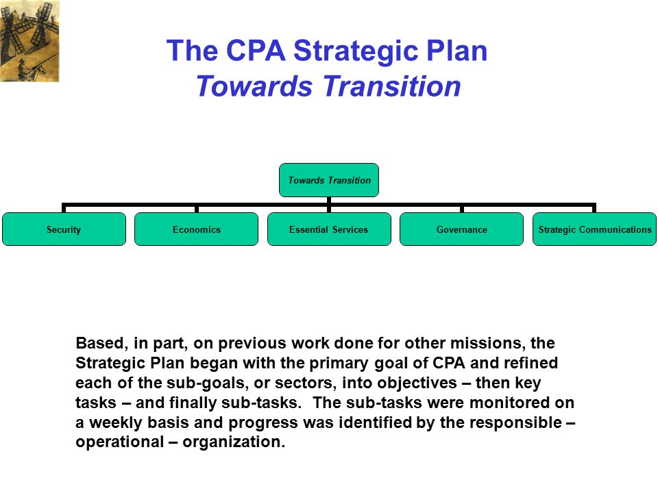 The CPA Strategic Plan Towards Transition SecurityEconomics Essential Services Governance Strategic Communications Based, in part, on previous work do