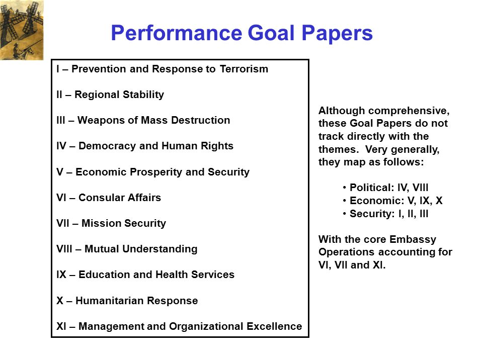 Performance Goal Papers I – Prevention and Response to Terrorism II – Regional Stability III – Weapons of Mass Destruction IV – Democracy and Human Ri