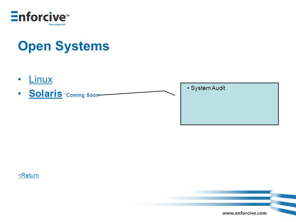Open Systems Linux Solaris *Coming SoonSolaris <Return System Audit