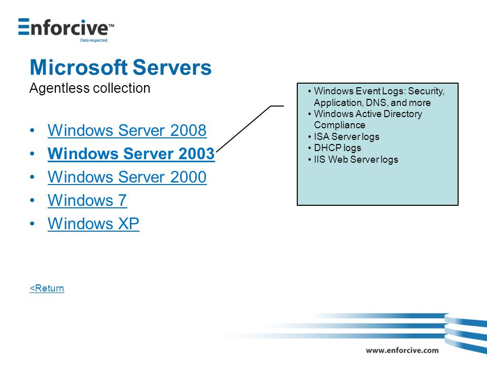 Microsoft Servers Agentless collection Windows Server 2008 Windows Server 2003 Windows Server 2000 Windows 7 Windows XP <Return Windows Event Logs: Security, Application, DNS, and more Windows Active Directory Compliance ISA Server logs DHCP logs IIS Web Server logs