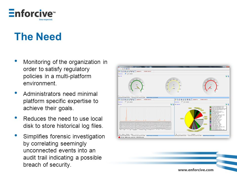 The Need Monitoring of the organization in order to satisfy regulatory policies in a multi-platform environment.