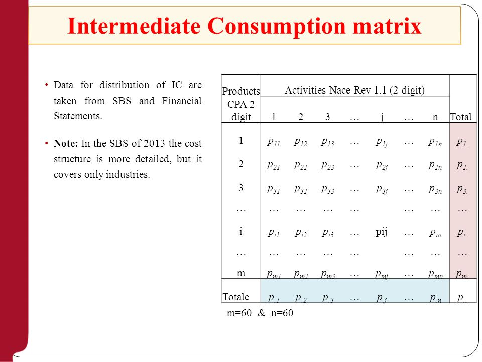 Intermediate Consumption matrix Products CPA 2 digit Activities Nace Rev 1.1 (2 digit) Total 123…j…n 1p 11 p 12 p 13 …p 1j …p 1n p 1.