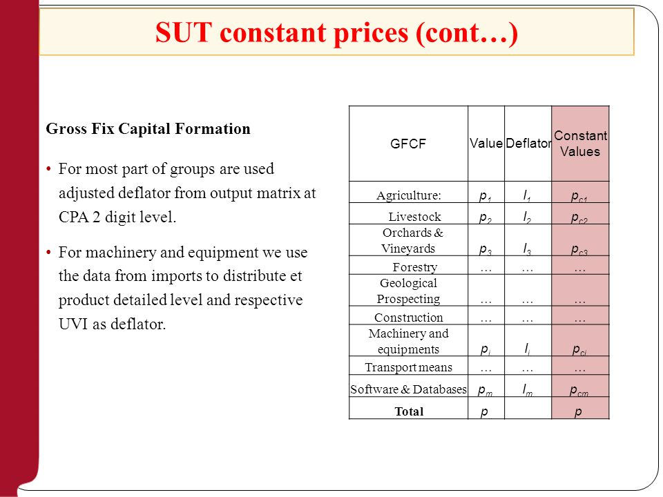 Gross Fix Capital Formation For most part of groups are used adjusted deflator from output matrix at CPA 2 digit level.