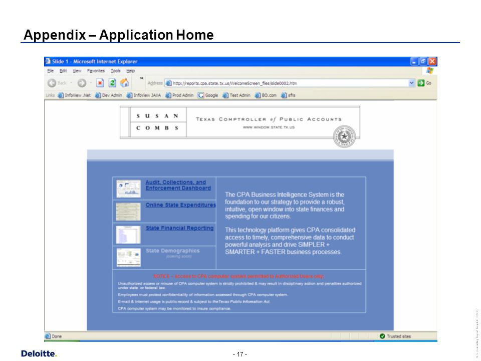 - 17 - U.S. Consulting Report Template_022307 Appendix – Application Home