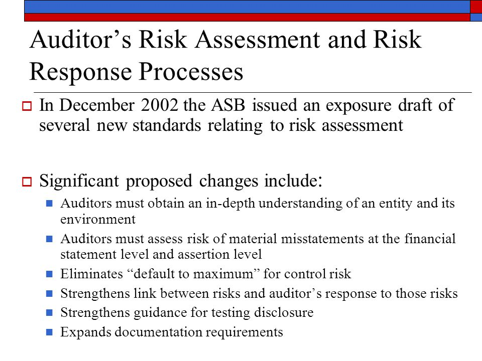 Auditor's Risk Assessment and Risk Response Processes  In December 2002 the ASB issued an exposure draft of several new standards relating to risk as