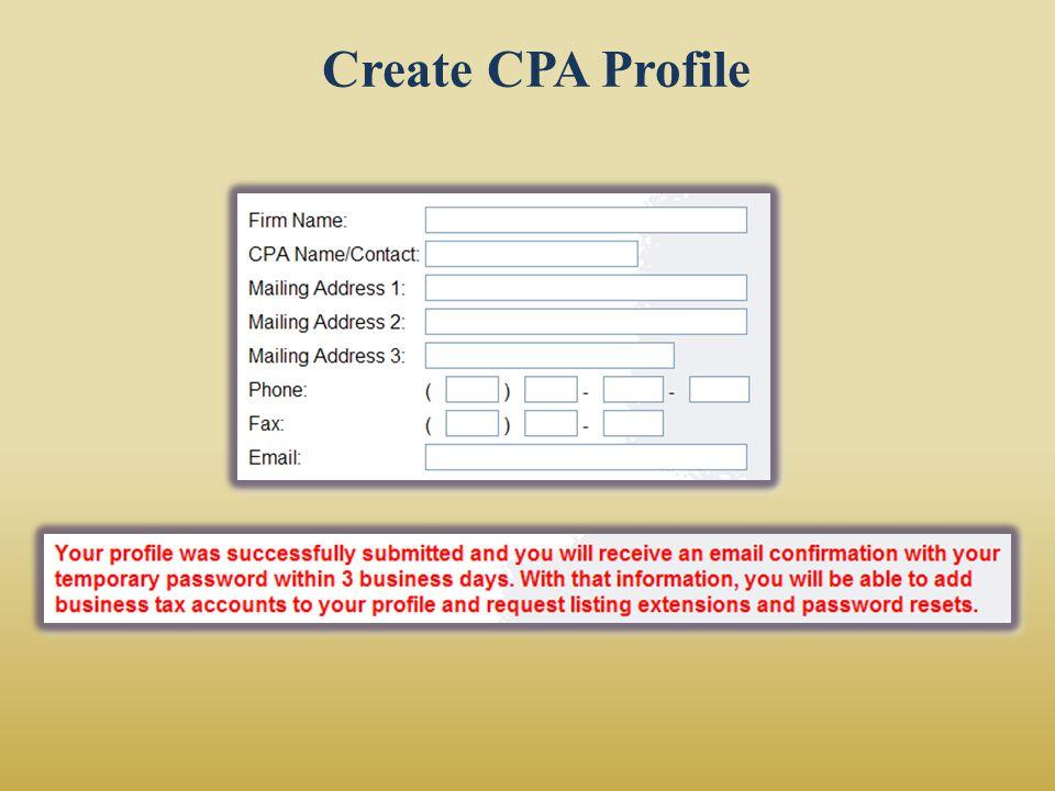 Create CPA Profile