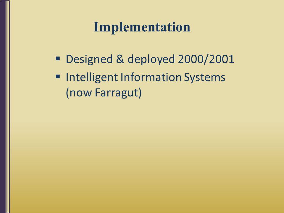 Implementation  Designed & deployed 2000/2001  Intelligent Information Systems (now Farragut)