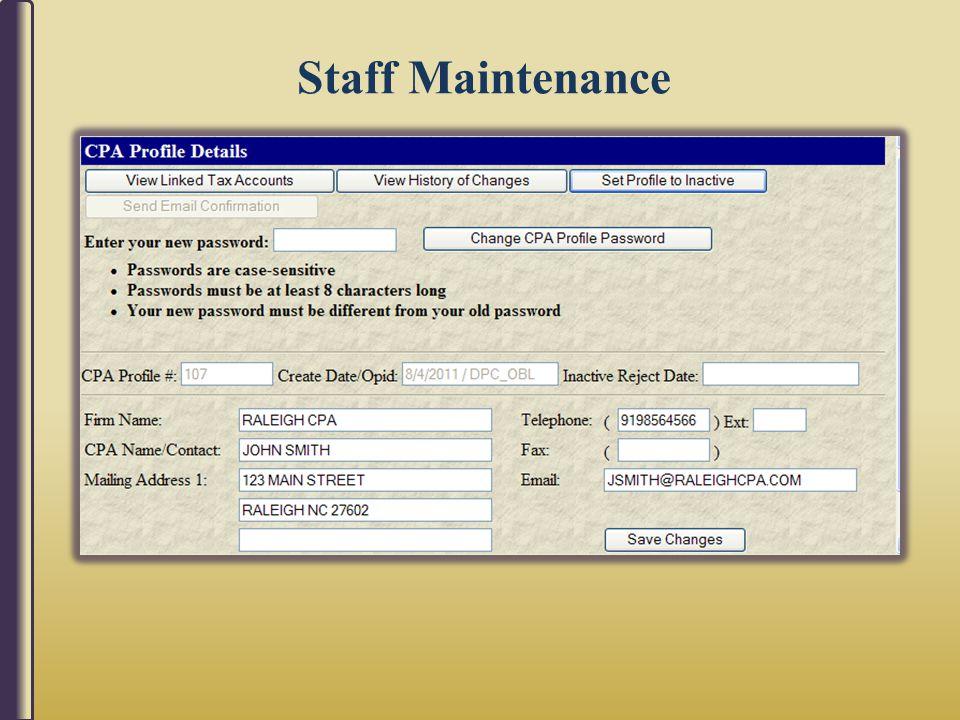 Staff Maintenance