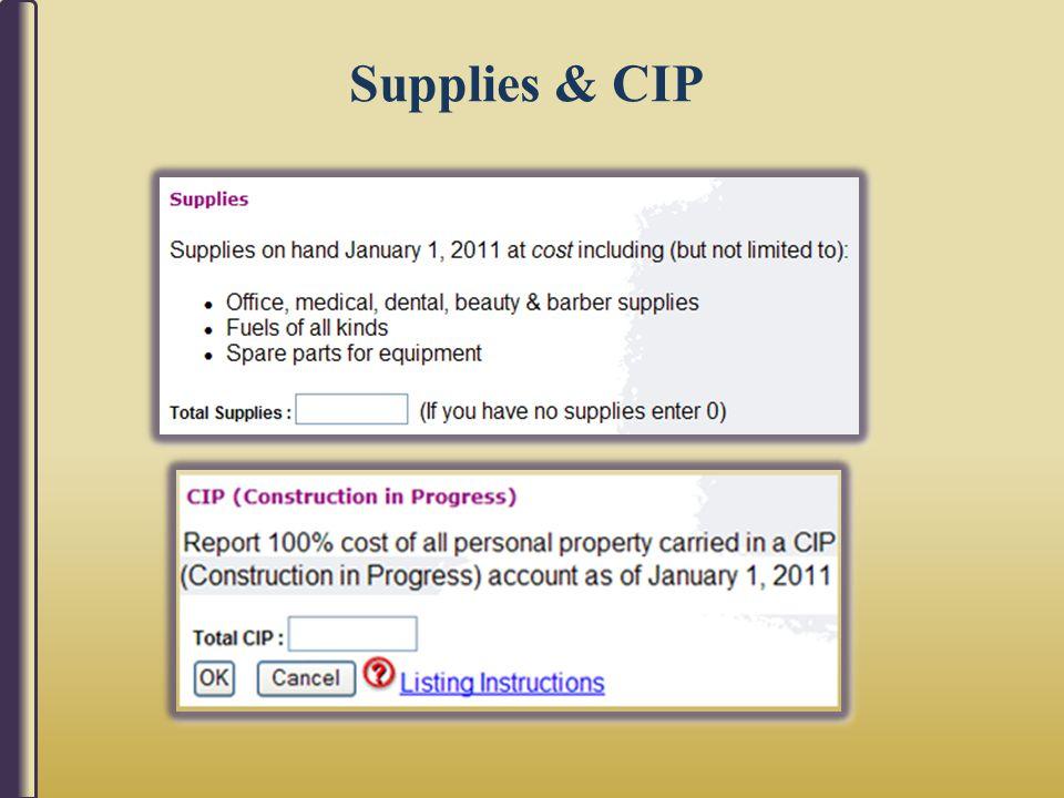 Supplies & CIP