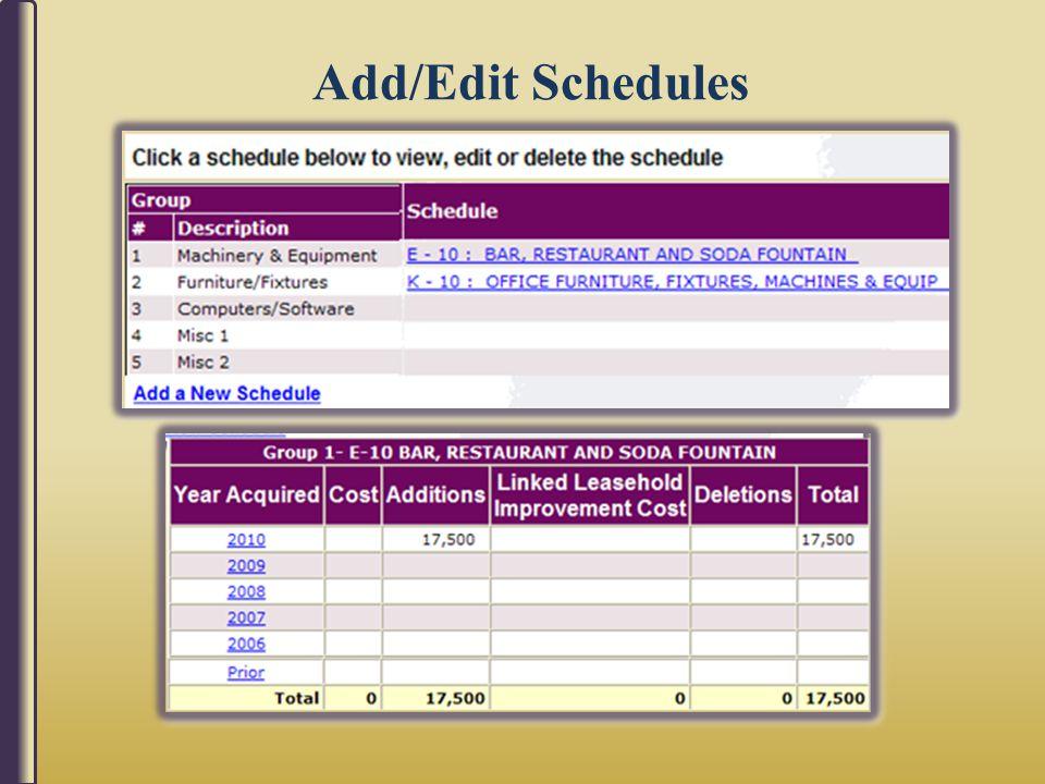 Add/Edit Schedules