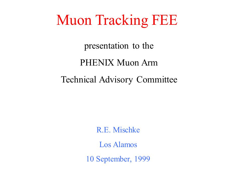 Muon Tracking FEE R.E.