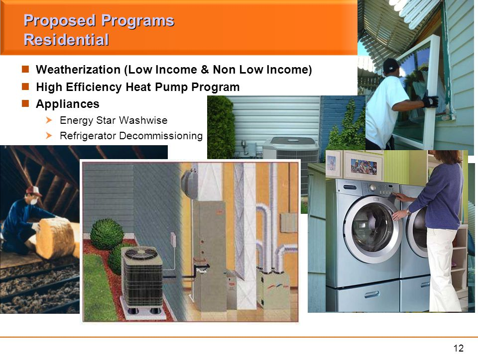 12 Proposed Programs Residential Weatherization (Low Income & Non Low Income) High Efficiency Heat Pump Program Appliances  Energy Star Washwise  Re