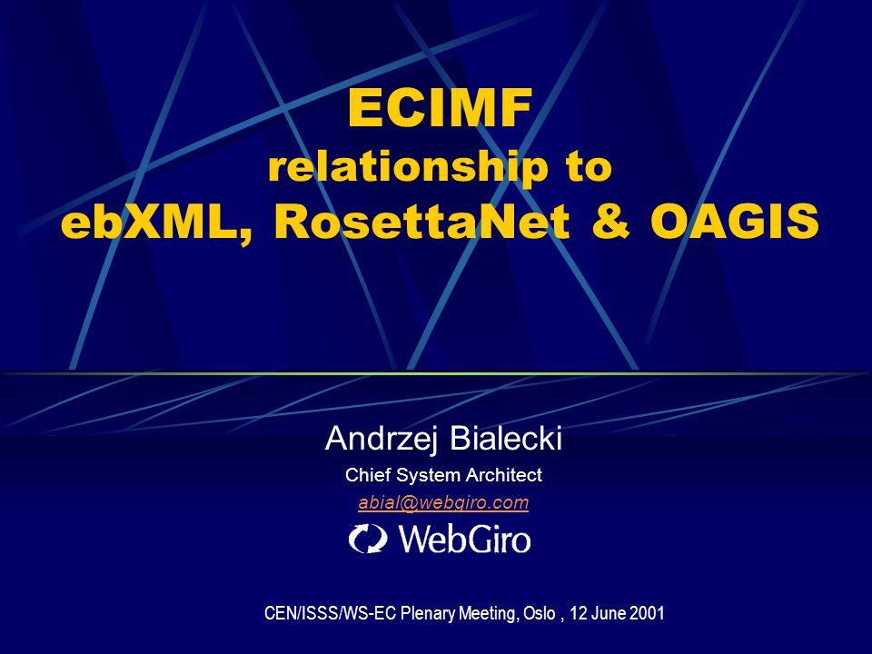 ECIMF relationship to ebXML, RosettaNet & OAGIS Andrzej Bialecki Chief System Architect abial@webgiro.com CEN/ISSS/WS-EC Plenary Meeting, Oslo, 12 June 2001