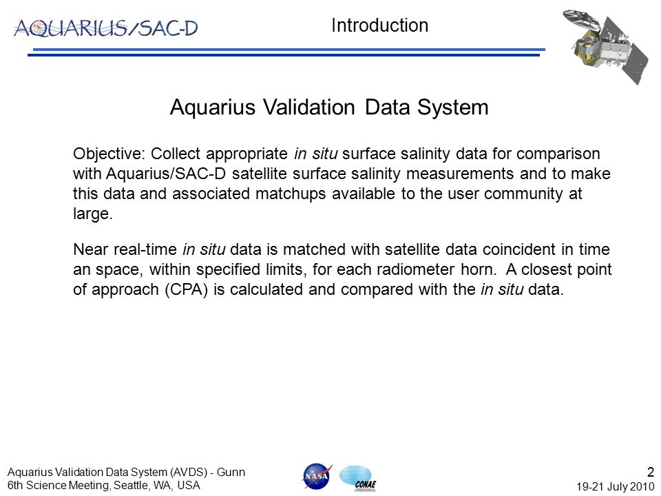 3 19-21 July 2010 Aquarius Validation Data System (AVDS) - Gunn 6th Science Meeting, Seattle, WA, USA Data Inputs Where do we get the data.