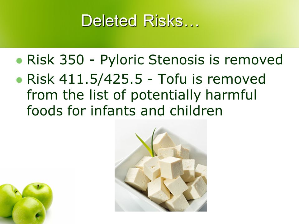 Deleted Risks… Risk 350 - Pyloric Stenosis is removed Risk 411.5/425.5 - Tofu is removed from the list of potentially harmful foods for infants and children