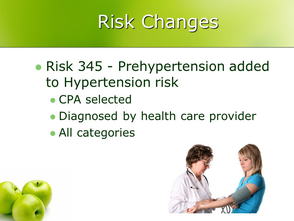 Risk Changes Risk 345 - Prehypertension added to Hypertension risk CPA selected Diagnosed by health care provider All categories
