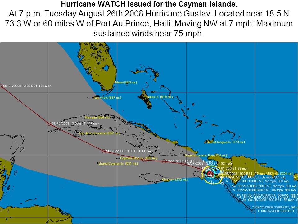 Hurricane WATCH issued for the Cayman Islands. At 7 p.m.