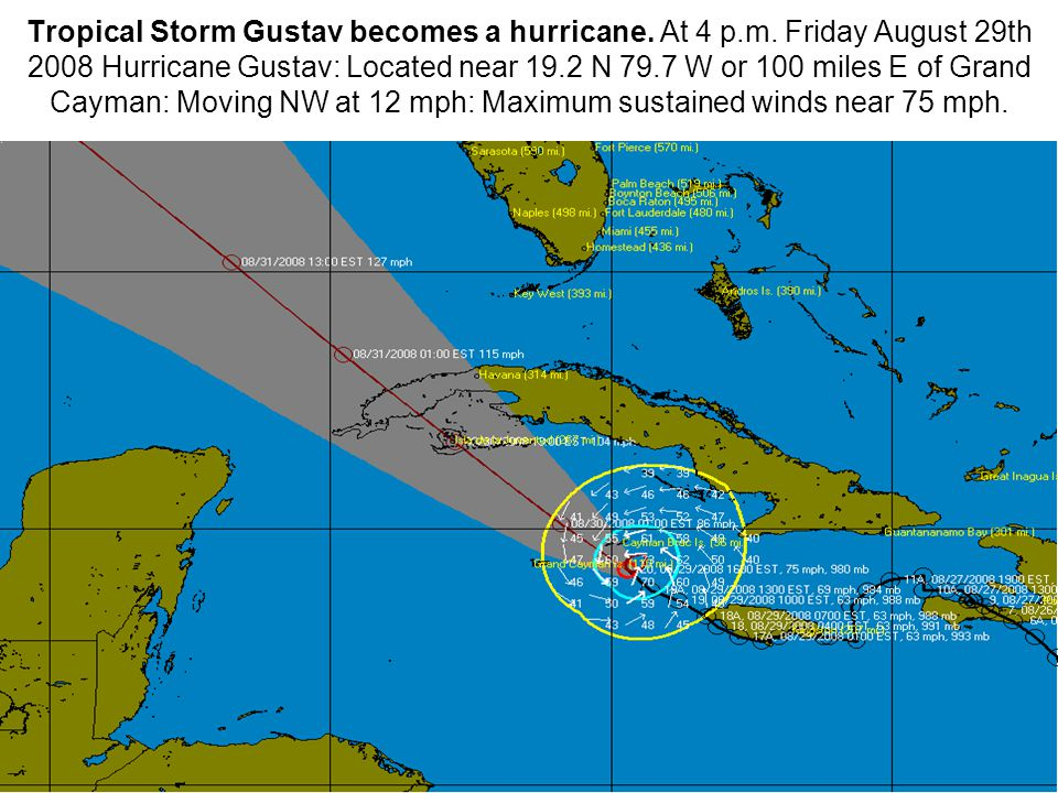 Tropical Storm Gustav becomes a hurricane. At 4 p.m.