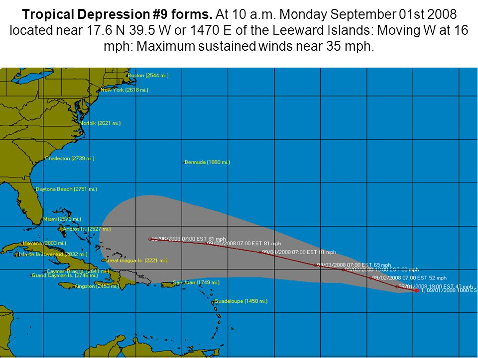 Tropical Depression #9 forms. At 10 a.m.