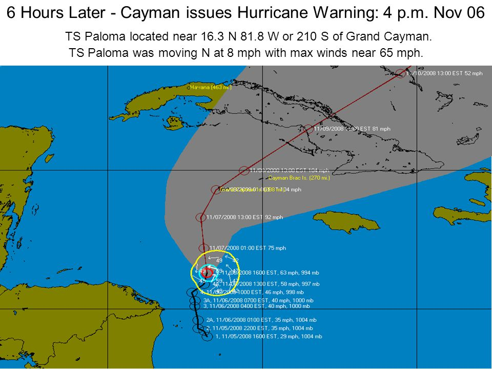 6 Hours Later - Cayman issues Hurricane Warning: 4 p.m.