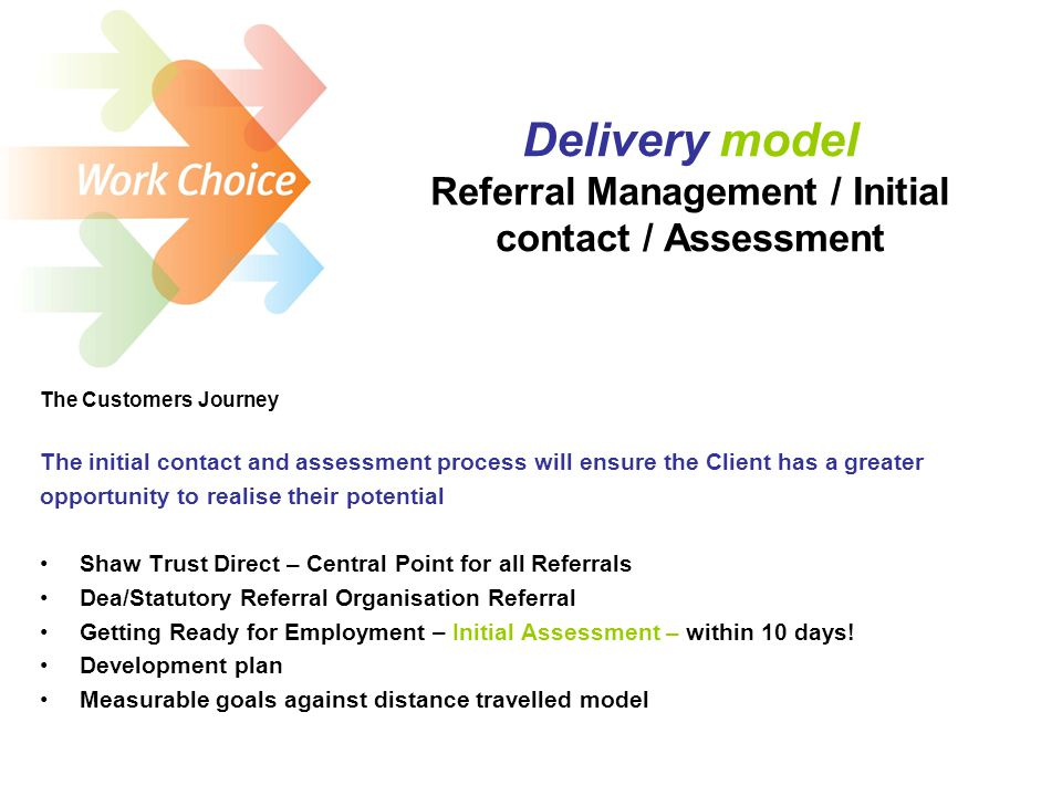 Delivery model Referral Management / Initial contact / Assessment The Customers Journey The initial contact and assessment process will ensure the Client has a greater opportunity to realise their potential Shaw Trust Direct – Central Point for all Referrals Dea/Statutory Referral Organisation Referral Getting Ready for Employment – Initial Assessment – within 10 days.