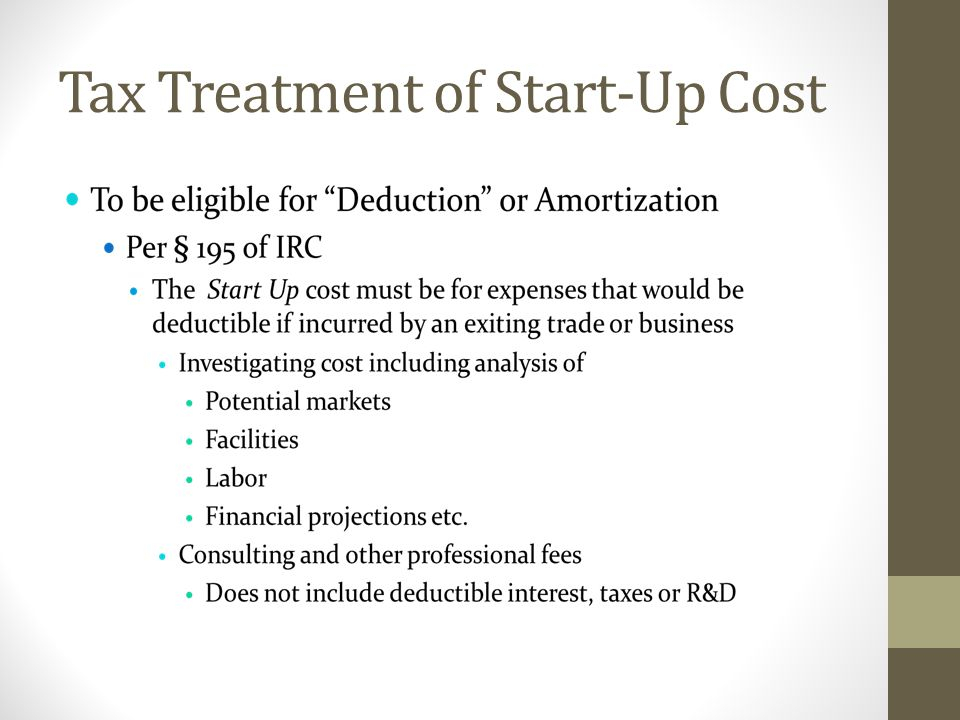 Tax Treatment of Start-Up Cost