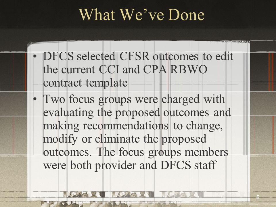 6 What We've Done CCI Focus Group Members Abe Wilkinson Teresa Wilkinson Mike Angstadt John Blend Normer Adams Renee Bennett Barry Kerr Scott Merritt David M.