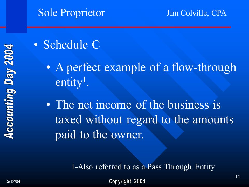 Jim Colville, CPA 11 Sole Proprietor Schedule C A perfect example of a flow-through entity 1.