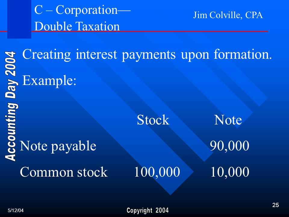Jim Colville, CPA 25 Creating interest payments upon formation.