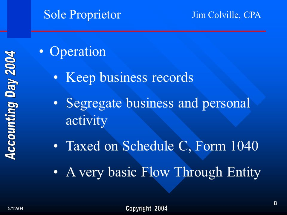 Jim Colville, CPA 8 Sole Proprietor Operation Keep business records Segregate business and personal activity Taxed on Schedule C, Form 1040 A very basic Flow Through Entity 5/12/04