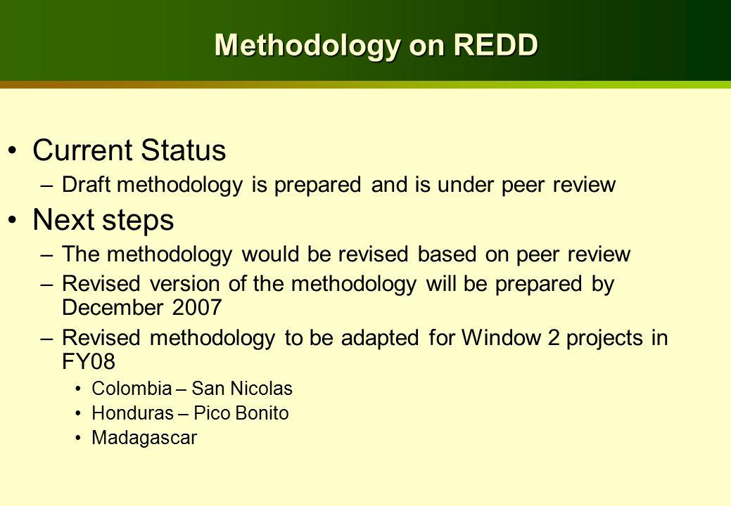 Methodology on REDD Current Status –Draft methodology is prepared and is under peer review Next steps –The methodology would be revised based on peer