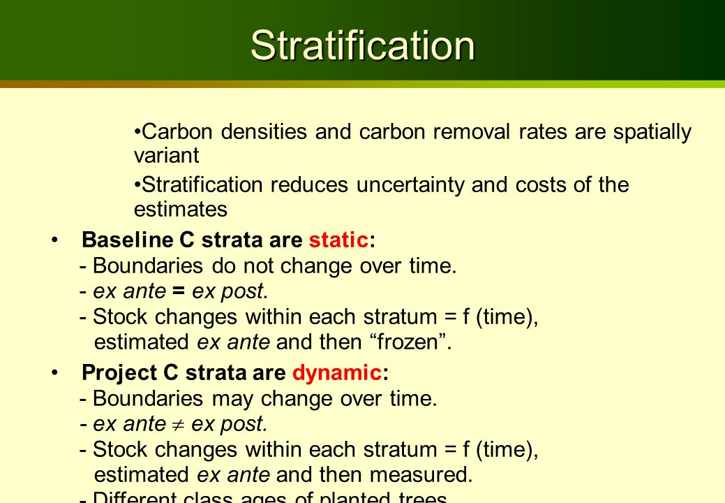 Stratification Carbon densities and carbon removal rates are spatially variant Stratification reduces uncertainty and costs of the estimates Baseline C strata are static: - Boundaries do not change over time.