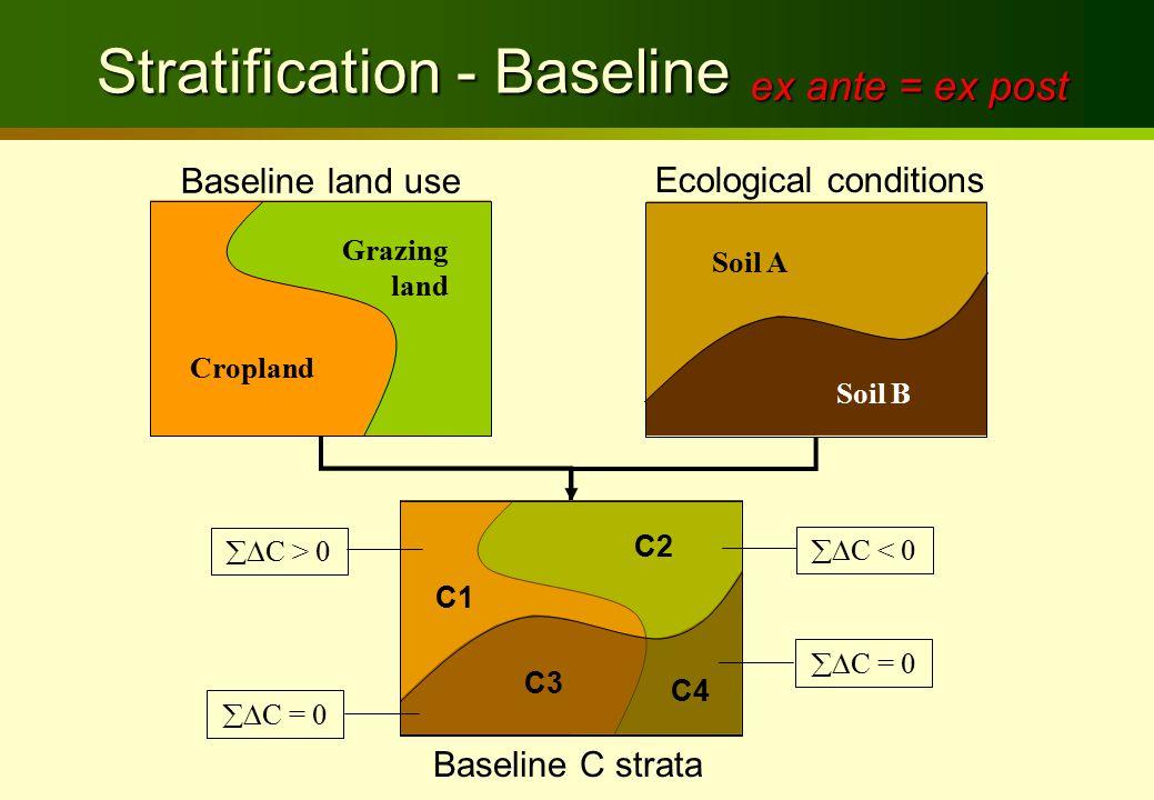 Stratification - Baseline Stratification - Baseline Baseline land use Cropland Grazing land Ecological conditions Soil B Soil A Baseline C strata C1 C2 C3 C4  C = 0  C < 0  C = 0  C > 0 ex ante = ex post